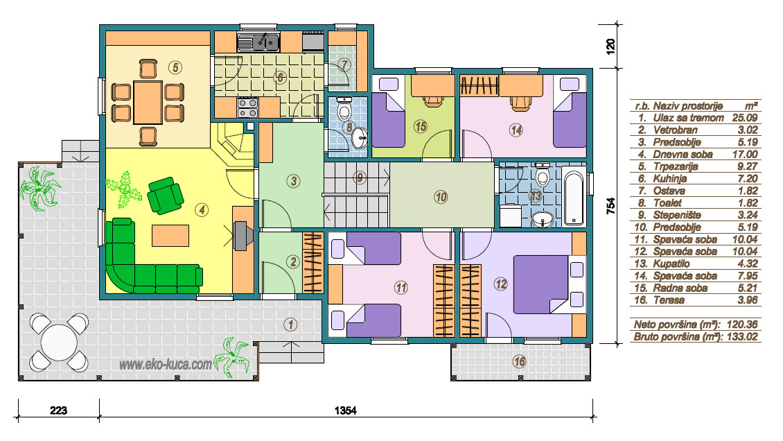 Prefabricated houses - Type 133 - plan