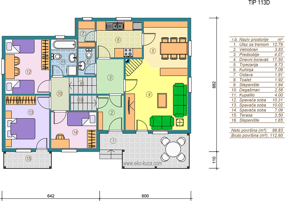 Prefabricated houses - Type 113D - plan