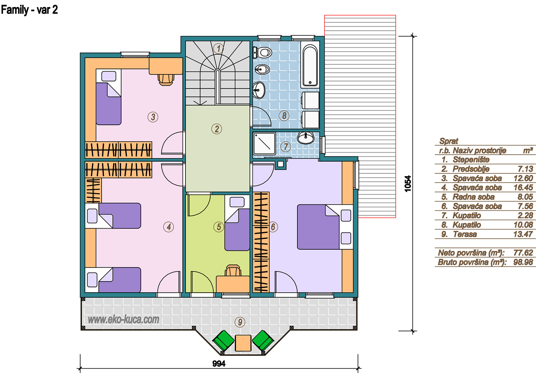 Prefabricated houses - Family 1 - Floor (storey) - varijanta 2
