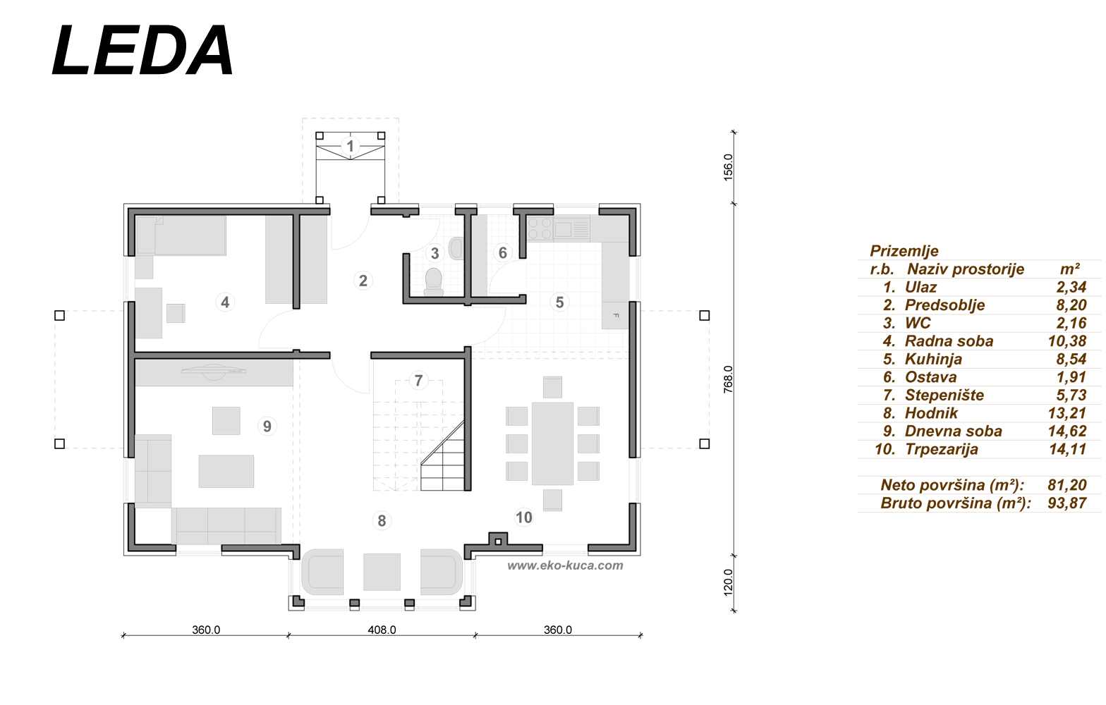 Prefabricated houses - Leda - Ground floor
