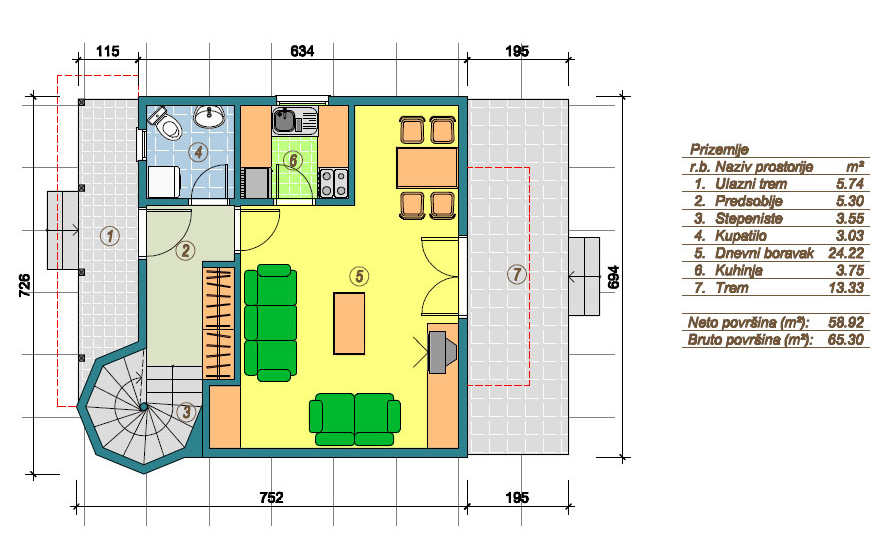 Prefabricated houses Marina - Ground floor