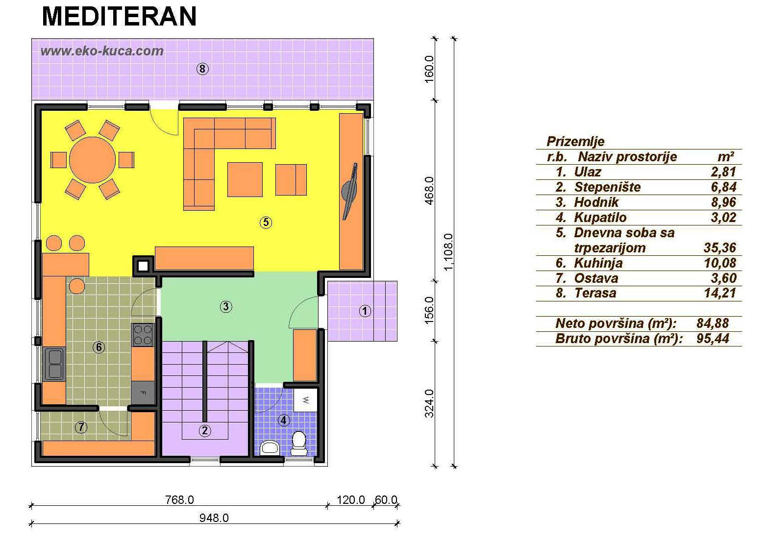 Prefabricated houses - Mediteran - Ground floor